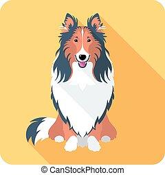 apartamento, cachorro collie, desenho, áspero, ícone