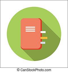 apartamento, caderno, ícone