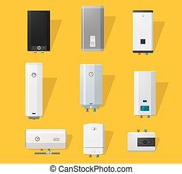 apartamento, caldeira, ícones