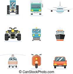 apartamento, car, aeronave, icons., vetorial, frete, sinais, agrícola, transportes, transporte, ícone