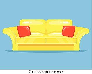 apartamento, caricatura, amarela, sofá