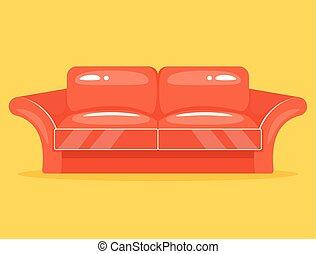 apartamento, caricatura, vermelho, sofá