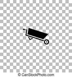 apartamento, carrinho de mão, ícone