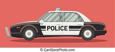apartamento, carro polícia