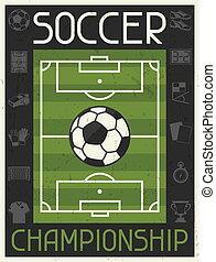 apartamento, cartaz, championship., desenho, retro, futebol,...