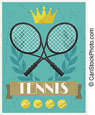 apartamento, cartaz, tennis., desenho, retro, style.