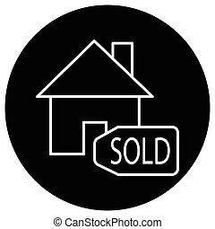 apartamento, casa, sinal vendido, pretas, ícone