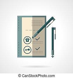 apartamento, casa, venda, vetorial, documento, ícone