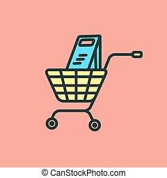 apartamento, cesta shopping, vetorial, desenho, cart., ícone