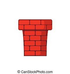 apartamento, chaminé, style., vermelho, ícone