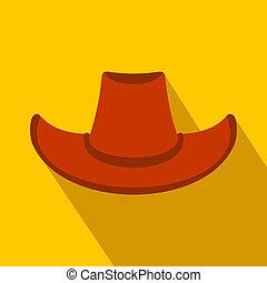 apartamento, chapéu vaqueiro, ícone