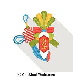 apartamento, chinês, rabanete, afortunado, ano, novo, branca, ícone