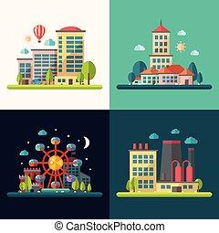 apartamento, cidade, modernos, conceitual, desenho, ilustrações