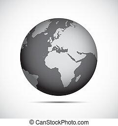 apartamento, cinzento, planeta, desenho, terra, ícone