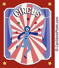 apartamento, circo, coloridos, cartaz