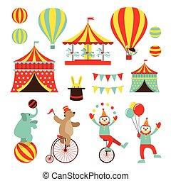 apartamento, circo, jogo, objetos, ícones
