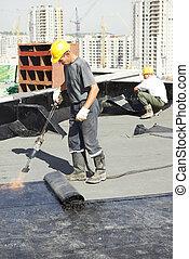 apartamento, cobertura, feltro, telhado, telhado, trabalhos, reparar