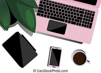 apartamento, coffee., escritório, topo, tabuleta, ilustração, desktop, telefone, negócio, freelancer, worker., training., escrivaninha, laptop, vista.