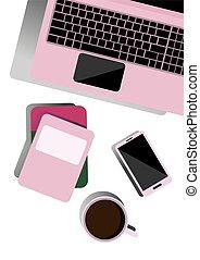 apartamento, coffee., negócio, topo, escrivaninha, telefone, ilustração, desktop, notepads, freelancer, worker., training., vista., laptop, escritório