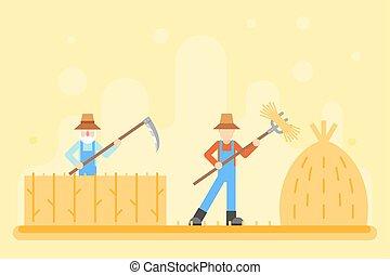 apartamento, colinas, feno, ilustração, outono, campo, camponês, vetorial, desenho, fundo, vila, harvestman, colheita, paisagem, ícone