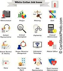 apartamento, coloridos, ícones, -, trabalho, colarinho branco