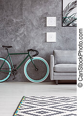 apartamento, com, cinzento, projeto interior
