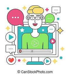 apartamento, computador, illustration., pessoal, blogger, concept., blogger., transmissão, apoplexia, vetorial, vídeo, linha, tela, canal, homem