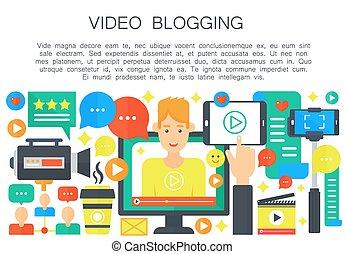 apartamento, computador, illustration., teia, pessoal, blogger, concept., blogger., caricatura, vetorial, vídeo, canal, modelo, tela, macho, blogging, broadcasting., homem