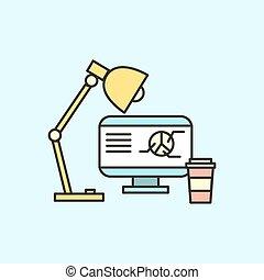 apartamento, computador, negócio, concept., ilustração, vetorial, local trabalho, ícone, design.