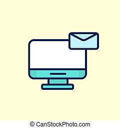 apartamento, computer., ilustração, vetorial, desenho, letra, mensagem, newsletter, email