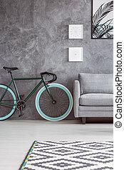 apartamento, con, gris, diseño de interiores