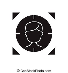 apartamento, conceito, alvo, ilustração, sinal, pessoa, vetorial, pretas, icon.