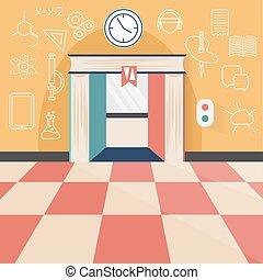 apartamento, conceito, arte, ícones, elevador, livro, desenho, ciência, tecnologia