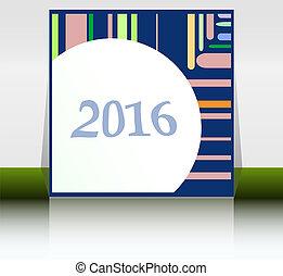 apartamento, conceito, card., cartaz, abstratos, ano, 2016, saudação, novo, criativo, multicolor, voador, noturna, partido, feriado, desenho, bandeira