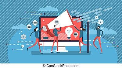 apartamento, conceito, cartaz, relações, vetorial, trabalho equipe, ilustração, público