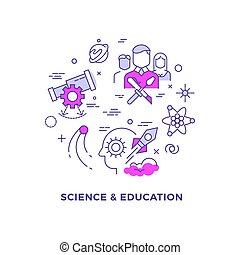 apartamento, conceito, ciência, vetorial, linha, educação