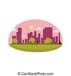 apartamento, conceito, cidade, isolado, vetorial, verde, caricatura