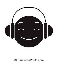 apartamento, conceito, dj, ilustração, sinal, vetorial, pretas, icon., emoji