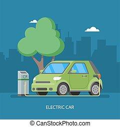 apartamento, conceito, elétrico, eco, car, ilustração, encarregando, vetorial, fundo, carregador, station., style., transporte