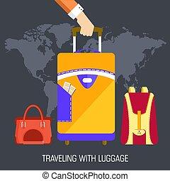 apartamento, conceito, eps10, bagagem, viagem, ilustração, experiência., vetorial, desenho