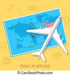 apartamento, conceito, eps10, viagem, ilustração, experiência., vetorial, desenho, avião