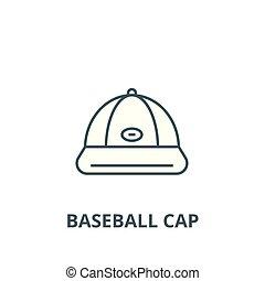 apartamento, conceito, esboço, sinal, boné, ilustração, símbolo, basebol, vector., ícone, linha