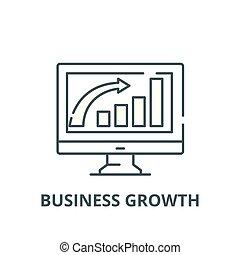 apartamento, conceito, esboço, sinal negócio, ilustração, símbolo, crescimento, vector., ícone, linha