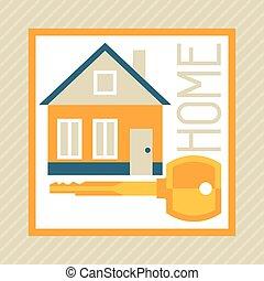 apartamento, conceito, hipoteca, ilustração, desenho, style.