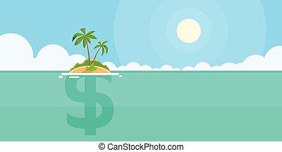 apartamento, conceito, ilha, sinal dólar, offshore