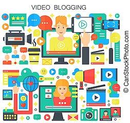 apartamento, conceito, illustration., blogger, webinar, educação, vetorial, vídeo, femininas, blogging, macho