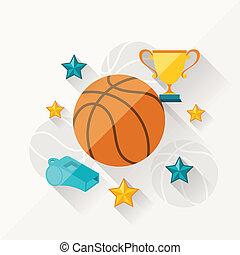apartamento, conceito, ilustração, basquetebol, desenho, style.