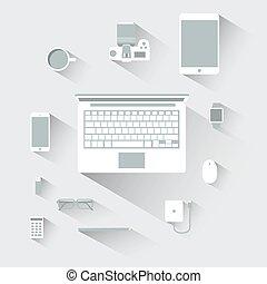 apartamento, conceito, ilustração computador, vetorial, desenho, dispositivos