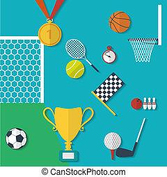apartamento, conceito, ilustração, equipamento esportes, vetorial, desenho, style.
