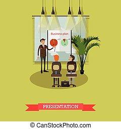 apartamento, conceito, ilustração negócio, vetorial, plano, apresentação, style.